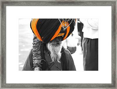 Indian Man Wearing Turban Framed Print