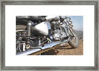 Indian Motorbike Chrome Framed Print by Kantilal Patel