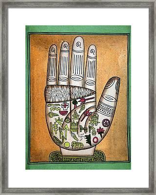 Indian Palmistry Map Framed Print by Victor De Schwanberg