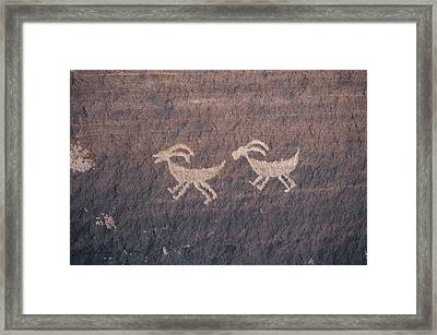 Indian Petroglyphs Depicting Bighorn Framed Print by Ira Block