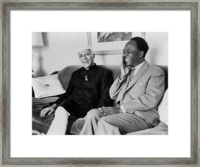 Indian Prime Minister Nehru And Ghana Framed Print by Everett