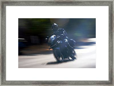 Indian Rider Leans Framed Print by Kantilal Patel