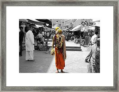 Indian Sadhu At A Religious Spot In India Framed Print by Sumit Mehndiratta