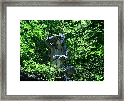 Indian Statue Along The Wissahickon Framed Print