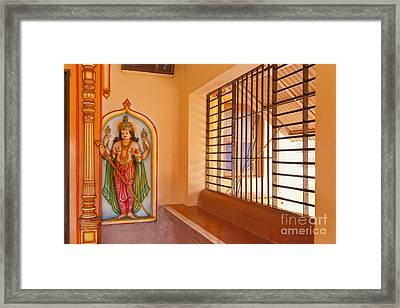 Indian Temple Bench And Artwork Framed Print by Inti St. Clair