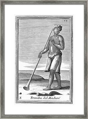 Indian Trumpet, 1723 Framed Print by Granger