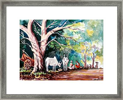 Indian Village Framed Print by Benjamin Manohar