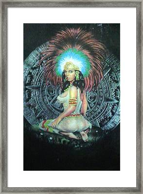 Indian Woman Framed Print by Unique Consignment