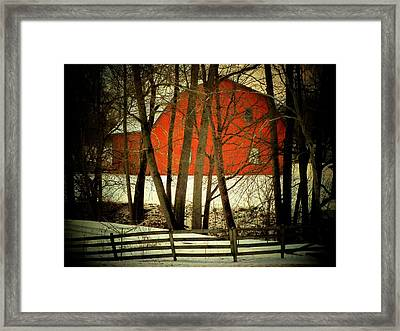 Indiana Barn And Fence Framed Print by Michael L Kimble