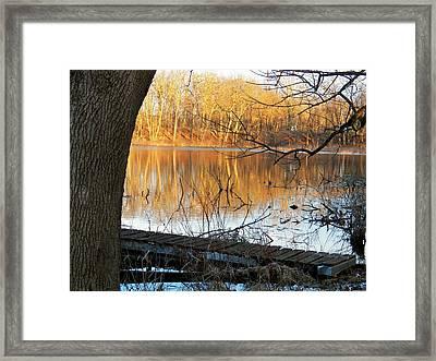 Indiana Dock Framed Print by Joyce Kimble Smith