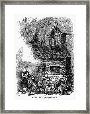 Indiana: Schoolhouse Fire Framed Print by Granger