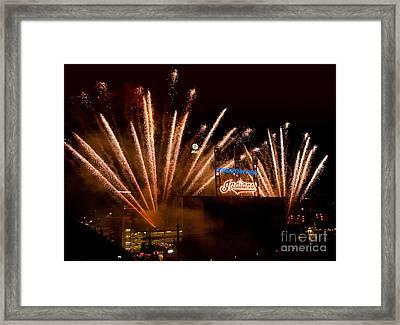 Indians Fireworks Framed Print by Bob Niederriter
