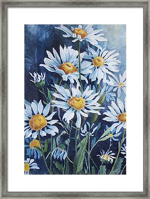 Indigo Daisies Framed Print by Yvonne Scott