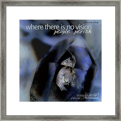 Indigo Quartz Crystal Framed Print by Vicki Ferrari