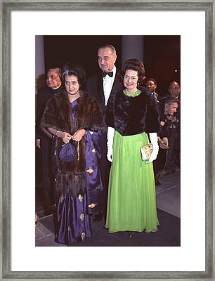 Indira Gandhi With President And Lady Framed Print by Everett