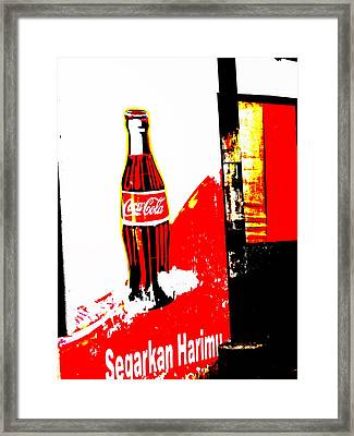 Indonesian Coke Ad Framed Print by Funkpix Photo Hunter