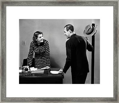 Indoor Business Scene Framed Print by George Marks