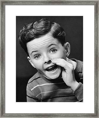 Indoor Portrait Of Yelling Boy Framed Print by George Marks