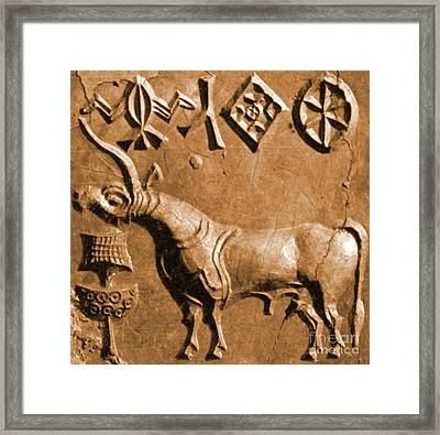 Indus Valley Unicorn Relief Framed Print by Science Source