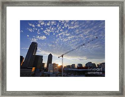 Industrial Crane Within City Skyline Framed Print by Jeremy Woodhouse