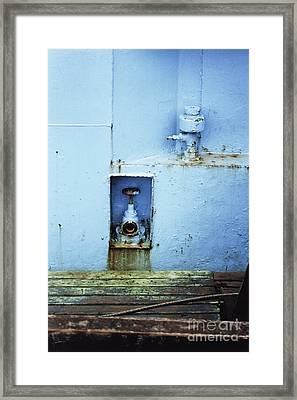 Framed Print featuring the photograph Industrial Detail In Turquoise Blue by Agnieszka Kubica