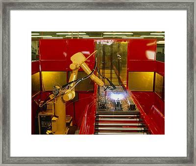 Industrial Robot Welding On Production Line Framed Print by David Parker600-group