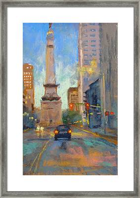 Indy Monument At Twilight Framed Print
