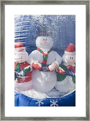 Inflatable Snowman Globe Family Close-up Framed Print by James Forte