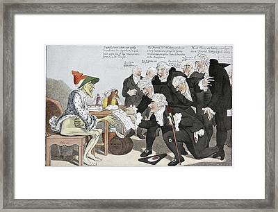 Influenza Epidemic, Satirical Artwork Framed Print