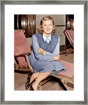 Ingrid Bergman Lounges On Ship Deck Framed Print