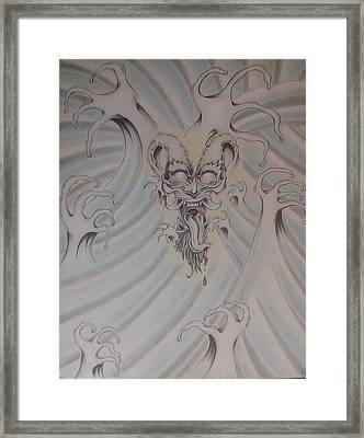 Ink And Pastel Oriental Style Dragon And Waves Framed Print by Andrew Longhi