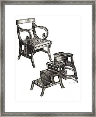 Ink Drawing Of Regency Metamorphic Chair Framed Print by Adendorff Design