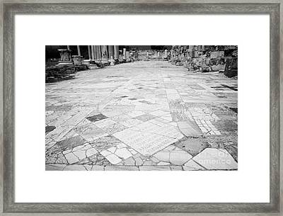 Inscription In The Floor Tile Of The Gymnasium Stoa Ancient Site Of Salamis Famagusta  Framed Print by Joe Fox