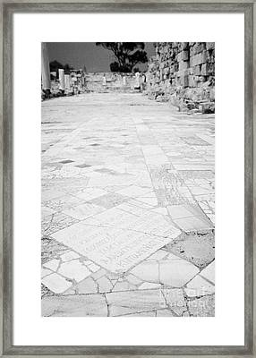 Inscription In The Floor Tile Of The Gymnasium Stoa Ancient Site Salamis Famagusta Framed Print by Joe Fox