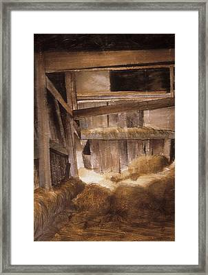 Inside Keeler's Barn Framed Print