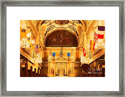 Inside St Louis Cathedral Jackson Square French Quarter New Orleans Film Grain Digital Art Framed Print by Shawn O'Brien