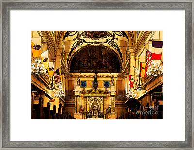 Inside St Louis Cathedral Jackson Square French Quarter New Orleans Fresco Digital Art Framed Print by Shawn O'Brien