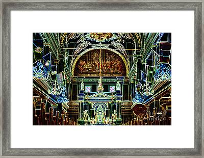 Inside St Louis Cathedral Jackson Square French Quarter New Orleans Glowing Edges Digital Art Framed Print by Shawn O'Brien