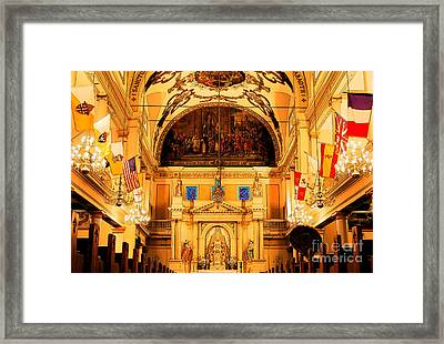 Inside St Louis Cathedral Jackson Square French Quarter New Orleans Ink Outlines Digital Art Framed Print by Shawn O'Brien
