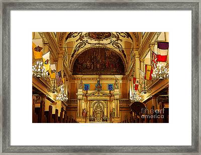 Inside St Louis Cathedral Jackson Square French Quarter New Orleans Poster Edges Digital Art Framed Print by Shawn O'Brien