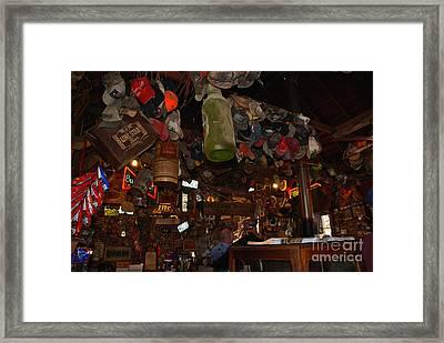 Inside The Bar In Luckenbach Tx Framed Print