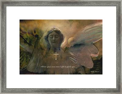 Inspirational Dreamy Angel Art Digital Painting  Framed Print by Kathy Fornal