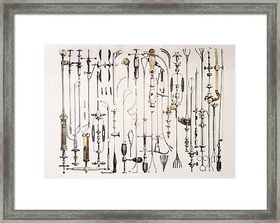 Instruments For Removing Bladder Stones Framed Print by Mehau Kulyk