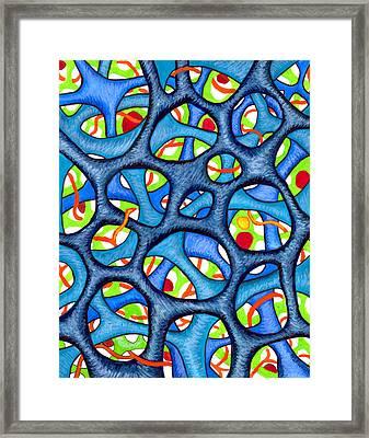 Interconnection In Blue Framed Print by Nancy Mueller