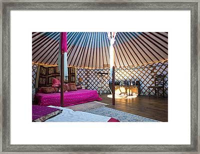 Interior Of A Mongolian Yurt Luxurious Framed Print by Corepics