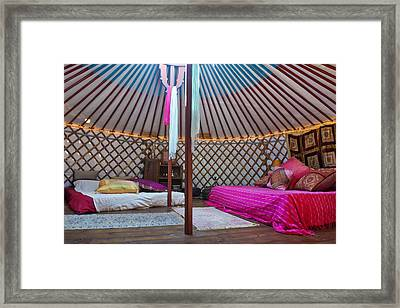 Interior Of A Mongolian Yurt Used Framed Print