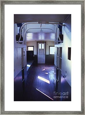 Interior Of A Vintage Train Caboose Framed Print by Janeen Wassink Searles