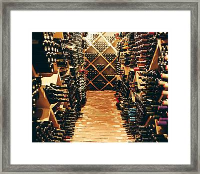 Interior Of A Wine Cellar Framed Print by Joao Canziani
