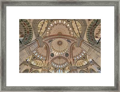 Interior Of Fatih Mosque Framed Print by Salvator Barki