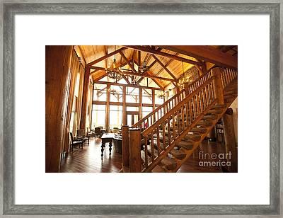 Interior Of Large Wooden Lodge Framed Print